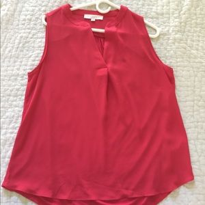 Loft chiffon sleeveless blouse in viridian red